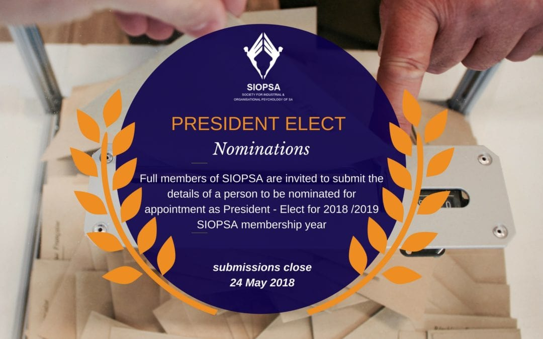 A call for nominations for 2018/2019 President-Elect